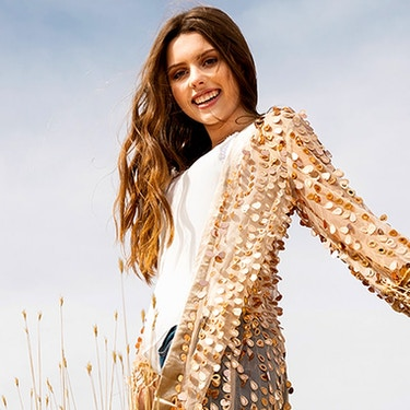 Girl in Sequined Sweater