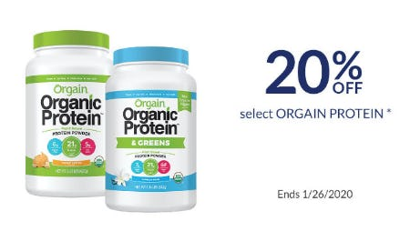 20% Off Select Orgain Protein