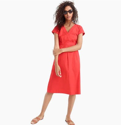 Short-Sleeve V-Neck Midi Dress in Cotton Poplin from J.Crew