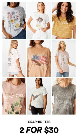 2 for $30 Graphic Tees from Cotton On