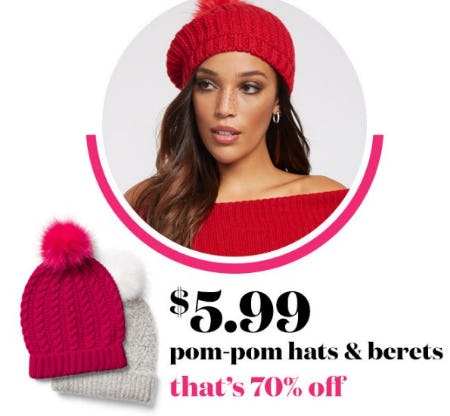 $5.99 Pom-pom Hats & Berets from New York & Company
