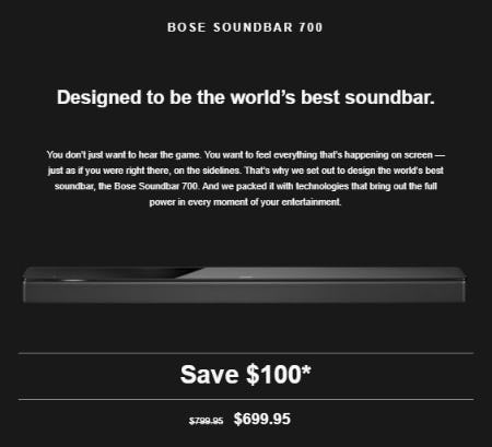 $100 Off the Bose Soundbar 700 from Bose