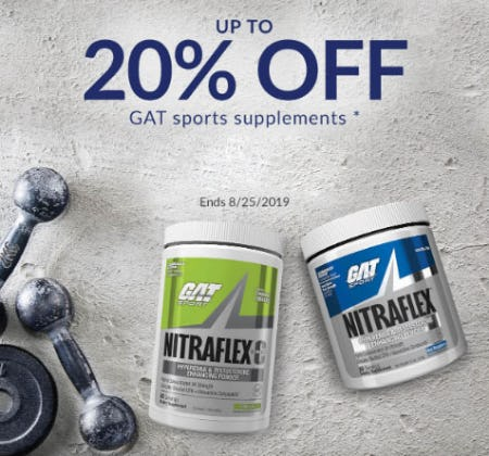 Up to 20% Off GAT Sports Supplements from The Vitamin Shoppe