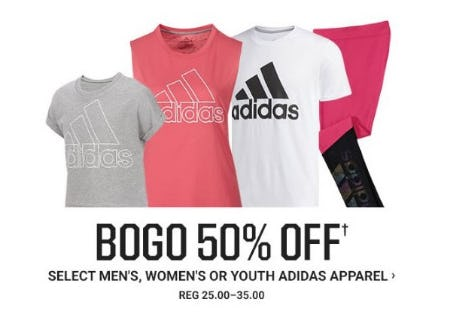 BOGO 50% Off Select Men's, Women's or Youth Adidas Apparel from Dick's Sporting Goods