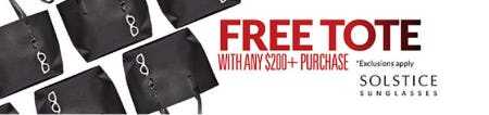 Free Tote with Any $200 or More Purchase from Solstice Sunglass Boutique