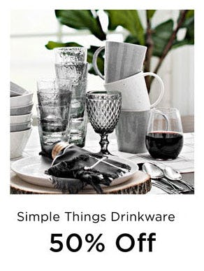 50% Off Simple Things Drinkware from Kirkland's