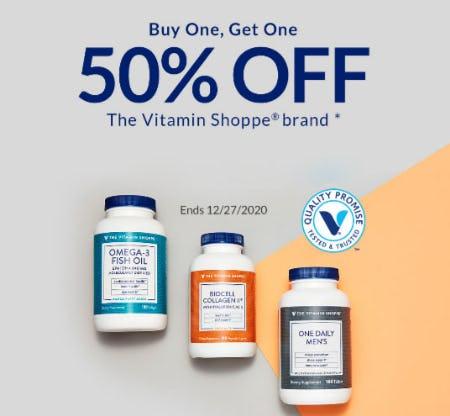 BOGO 50% Off The Vitamin Shoppe Brand from The Vitamin Shoppe