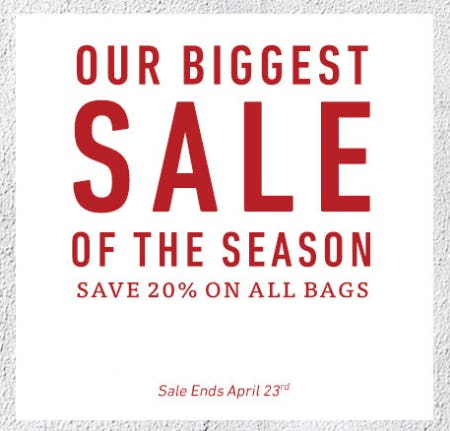 Save 20% on All Bags