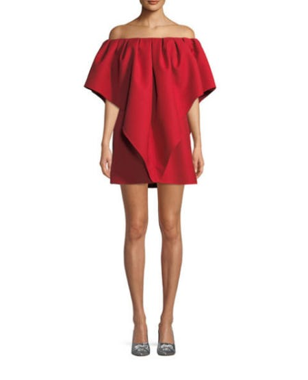Valentino Pleated Off-Shoulder Cady Dress from Neiman Marcus