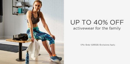 Up to 40% Off Activewear for the Family from Sears