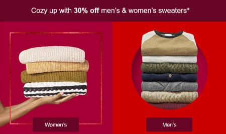 30% Off Men's & Women's Sweaters from Target