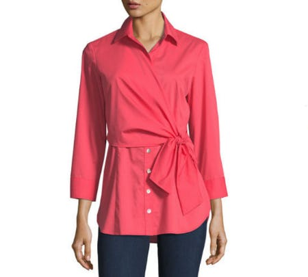 Finley Raleigh Side-Tie Poplin Blouse from Neiman Marcus