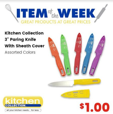 """$1.00 Kitchen Collection 3"""" Pairing Knife With Sheath Cover"""