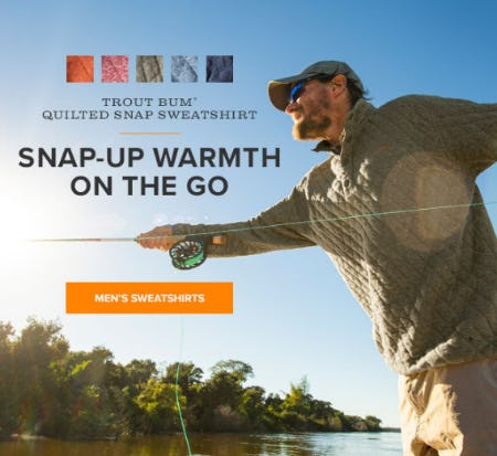 Our Trout Bum Quilted Snap Sweatshirt from Orvis