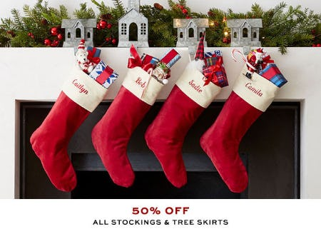 50% Off All Stockings & Tree Skirts from Pottery Barn
