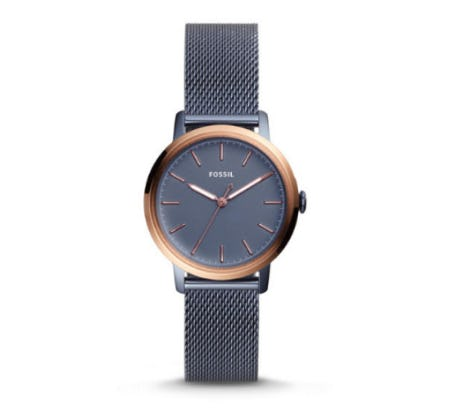 Neely Three-Hand Steel Blue Stainless Steel Watch