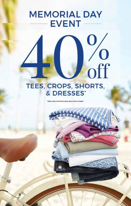40% off  Tees, Crops, Shorts & Dresses*