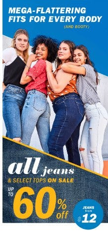 All Jeans & Select Tops on Sale up to 60% Off