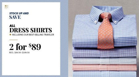 All Dress Shirts 2 for $89 from Jos. A. Bank
