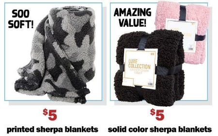 $5 Printed Sherpa Blankets & $5 Solid Color Sherpa Blankets from Five Below