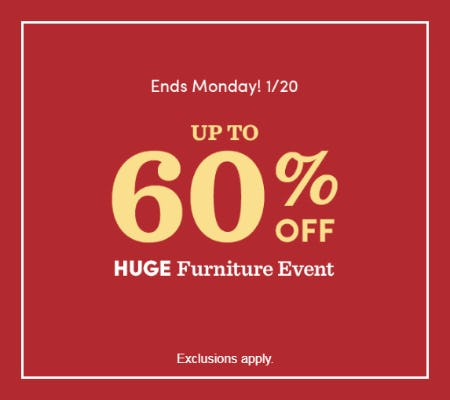 Huge Furniture Event: Up to 60% Off