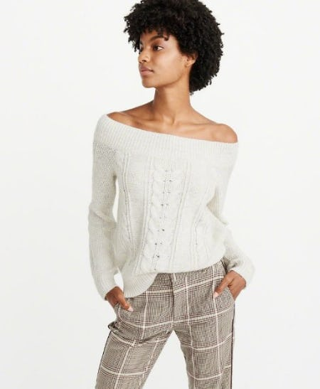 Off-The-Shoulder Cable Knit Sweater from Abercrombie & Fitch