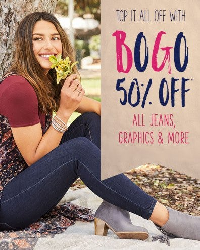 BOGO 50% Off All Jeans, Graphics & More