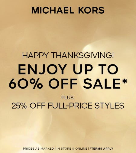 Thanksgiving Day Sale from Michael Kors