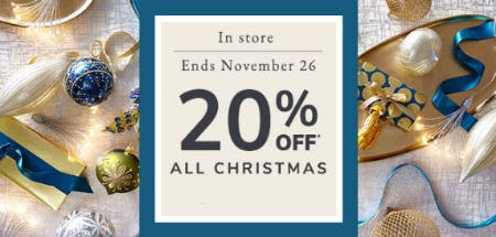 20% Off All Christmas from Pier 1 Imports