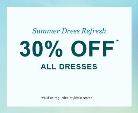 30% Off All Dresses