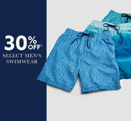 30% Off Select Men's Swimwear from Lord & Taylor