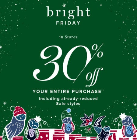 30% Off Your Entire Purchase from Vera Bradley