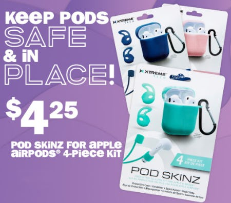 $4.25 Pod Skinz for Apple Airpods 4-Piece Kit from Five Below