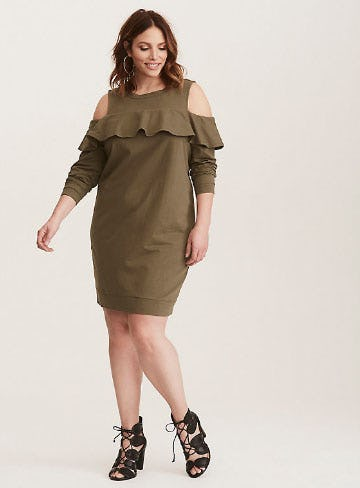 Olive Green Ruffled Knit Sweatshirt Dress