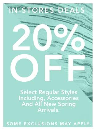 20% Off Select Regular Styles