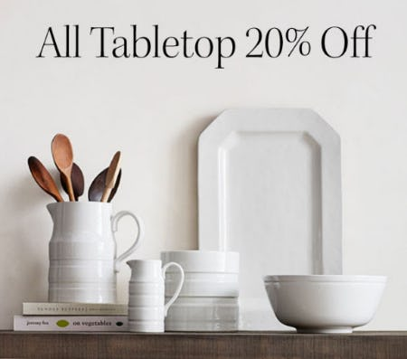 20% Off All Tabletop from Pottery Barn