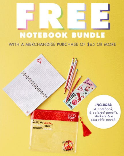 Free Notebook Bundle from Justice