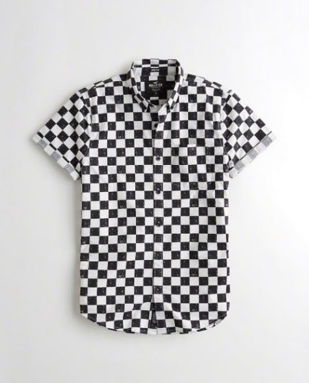 Short-Sleeve Stretch Checkerboard Poplin Shirt