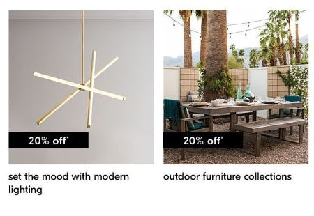 20% Off Modern Lighting & Outdoor Furniture Collections from West Elm