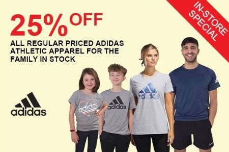 25% Off All Regular Priced Adidas Athletic Apparel for the Family