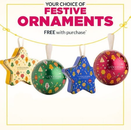 Festive Ornaments Free with Purchase from L'Occitane