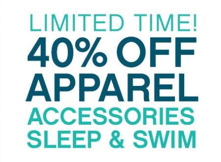 40% Off on Apparel, Accessories, Sleep & Swim