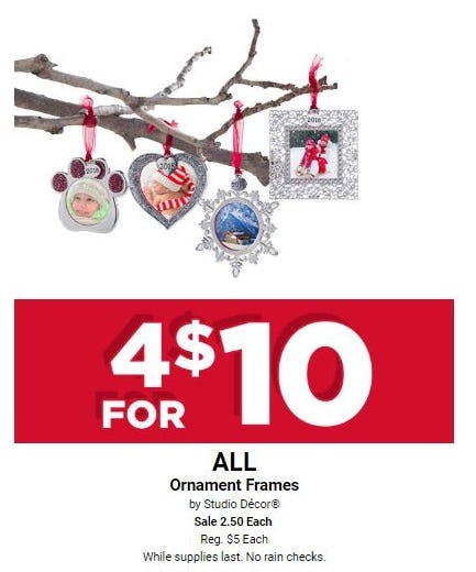 4 for $10 All Ornament Frames by Studio Décor from Michaels