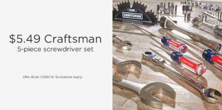 $5.49 Craftsman 5-Piece Screwdriver Set from Sears