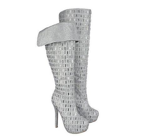 Shiekh Silver Women's Studded Platform Boot Sexy-02