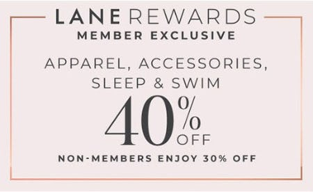 40% Off Apparel, Accessories, Sleep & Swim from Lane Bryant