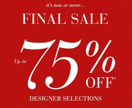 Up to 75% Off Designer Selections