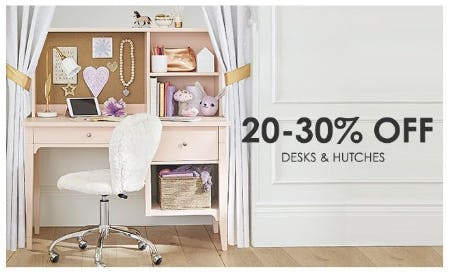 20–30% Off Desks & Hutches from Pottery Barn Kids