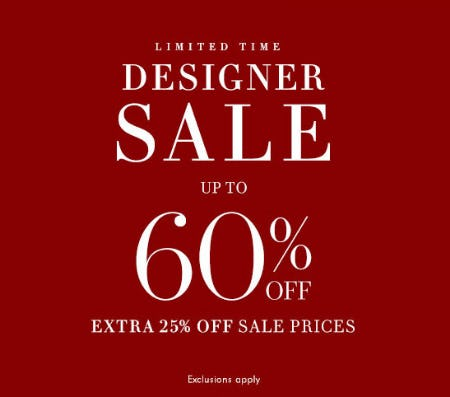 Up to 60% Off Designer Sale