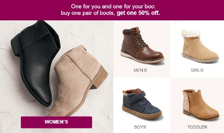 Buy One Pair of Boots, Get One 50% Off